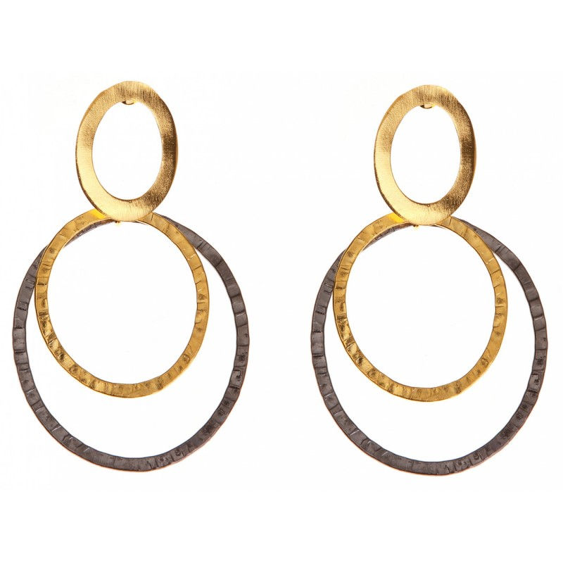 Σκουλαρίκια δύο κρίκοι: μαύρο και χρυσό
